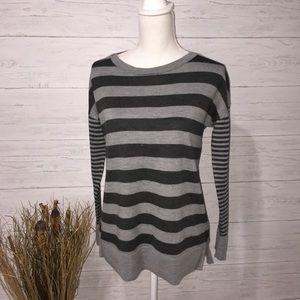 Banana Republic Grey Striped Merino Wool Sweater